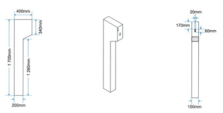 Amalgamated Concrete Precast Cement cable guard rail post-drawing